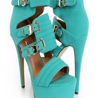 Seagreen Open Toe Buckle Accent Heels Faux Leather