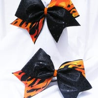 Cheer bow - Black with flames with black sequins.cheerleader bow - dance bow -cheerleading bow