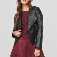 Leora Quilted Faux Leather Jacket