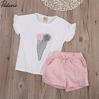 2017 Summer Fashion Children Girl Baby Kids Girls Ice cream Printed T-shirt Pants Shorts clothing Summer Outfits Clothes Set