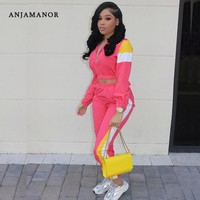 ANJAMANOR Color Block Casual Tracksuit Women Two Piece Set Top and Pants Neon Pink Outfits Matching Sets Sport Suits D30-AF27