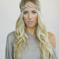 Beaded BOHO Head Piece, Beaded Headband, Bohemian, Head band, Clear/Bronze Beads (PNM-HB-038)