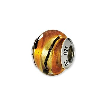 Sterling Silver, Yellow, Golden and Black Murano Glass Charm