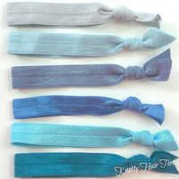 Knotty Hair Ties Ocean Waves Set of 6 No Tug Elastic Doubles as a Bracelet Trendy Fashion Accessory
