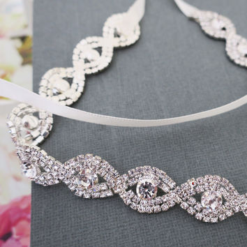 Wedding Forehead Band, Bridal Headbands with Ribbon Rhinestones