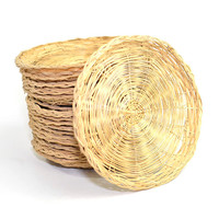 Wicker Plate Liners (Set of 18) – Woven Wooden Holders for Paper Plates, Picnic, Camping, Cookout Dinner or Repurpose – Vintage Kitchen