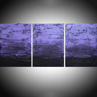 "ARTFINDER: large triptych 3 panel wall art impasto textured "" Purple Persausion "" 3 part piece three panel canvas wall abstract canvas pop abstraction 54 x 24 "" other sizes too by Stuart Wright - triptych abstract painting, 3 piece canvas art ..."