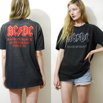 AC/DC Shirt 90s Vintage ACDC Tshirt Back in Black '81 Band Tee Concert Shirt Rock Soft Faded 1990s vtg Mens S-M / Womens xs-l