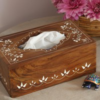 """New Gift Idea - Wooden Tissue Box - Free Shipping - """"Olde Worlde"""" Big 10 Inch Rectangular Rosewood Decorative Box for Kitchen, Office and Home - Clearance Sale"""