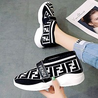 Fendi thick bottom wild muffin bottom breathable flying woven shoes White
