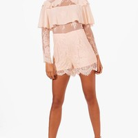Summer Frill Detail Lace Playsuit | Boohoo