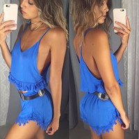 Blue Lace Trim Two Piece Set