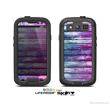 The Pink & Blue Dyed Wood Skin For The Samsung Galaxy S3 LifeProof Case