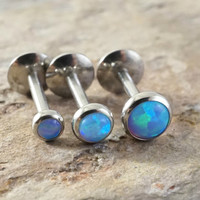 Pale Light Blue Fire Opal 16 Gauge (8mm) Cartilage Earring Tragus Monroe Helix Piercing You Choose Stone Size