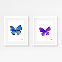 Butterfly Set of 2 watercolor painting wall art purple blue color nursery print butterfly moth insect poster for kid room baby girl boy teen