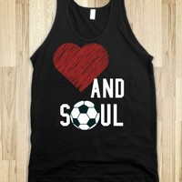 HEART AND SOUL SOCCER TANK TOP TEE T SHIRT