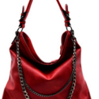 Red Double Layered Chain Accent Hobo Handbag