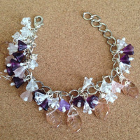 Purple, White and Peach Floral Bracelet
