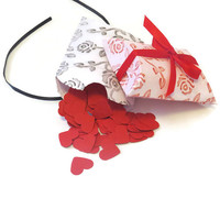 wedding confetti boxes - embossed rose pillow boxes - pack of 10