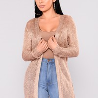Remy Metallic Cardigan - Rose Gold