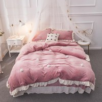 Fleece Warm Bedding Sets Pink Green Purple Princess Queen King Size Bed set Duvet Cover Pillowcase Bed Sheet Linens for Girls