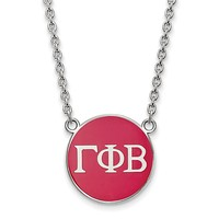 Sterling Silver Gamma Phi Beta Large Enamel Necklace
