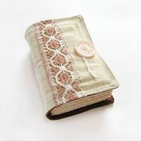Old Rose Fabric Journal Diary Sketchbook lacy heavy by ArtStitch