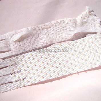 Ivory stretchy netting gloves with sequins/beads