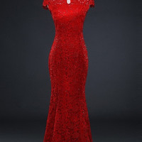 Illusion Lace Gown Wedding Qipao