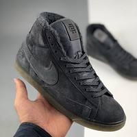 Nike Blazer Mid x frosted gray suede pig eight leather plus velvet pioneer series sneakers