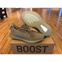 2017 Authentic Original Boost 350 V2 Men Women Running Shoes Real Boost Dark Green Kanye West High Quality SPLY 350 Sneakers Size36-46
