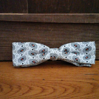 Vintage Mid Century Black Pattern Ormond Clip On Bow Tie