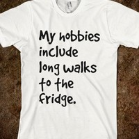 long walks to the fridge white- funny tops: more colors available- cute Skreened T-shirts, Organic Shirts, Hoodies, Kids Tees, and Tote Bags
