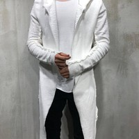 Oversized Hooded Cardigan - White