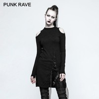 PUNK RAVE Gothic Women Knitted Sweater Winter Black Round Neck Strapless Long Ladies Sweaters Dress Rock Harajuku Sweater