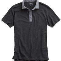 Chambray Trim Polo in Dark Charcoal Mix