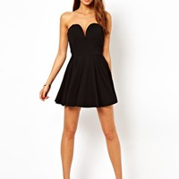 TFNC Fit And Flare Dress With Plunge V Neck