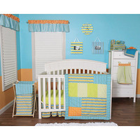 Trend Lab Levi Chevron 6 Piece Crib Bedding Set - Blue/Orange/Green