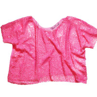 Hot Pink Sequin Meshed Boxy Relaxed Cropped Top T-shirt