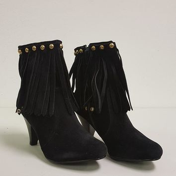 BRECKELLE'S CHER FRINGE BOOTIES - BLACK (SAMPLE)