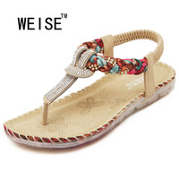 2016 New Exquisite Diamond Bohemian National Rhinestone Fashion Flat Shoes Women Sandals Large Size Casual Shoes Summers Sandals