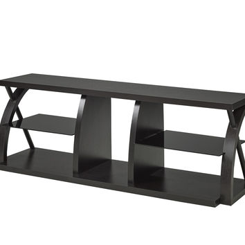 60' TV Stand with Tempered Glass Shelves