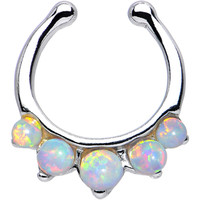 Five White Faux Opal Non-Pierced Clip On Septum Ring | Body Candy Body Jewelry