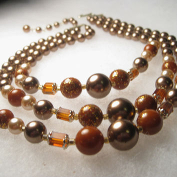 """Vintage Mid-Century Multi-Strand Mocha Pearly & Amber Beaded Choker Necklace, Gold Fleck Accents, 14-16"""", extender Chain, signed Japan"""