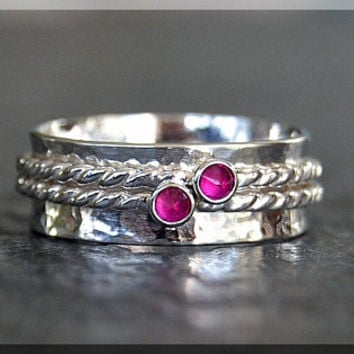 Sterling Silver Birthstone Spinner Ring, Choose Your Birthstone, Mothers Birthstone Ring, Personalized Family Ring, Inverted Setting