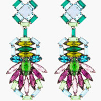 Dannijo Purple Crystal Barney Drop Earrings for women | SSENSE
