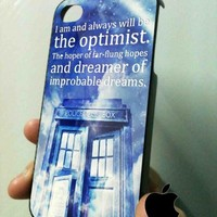 tardis dr.who quote in blue sky -KK- iPhone 4/4s case Black/White Case