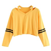 Womens Sweatshirts Hoodies Yellow Striped Hot Cropped Girls Autumn Pullovers Sexy Short Korean Style Sweatshirt Felpe Tumblr#11