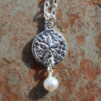 Dainty Silver Sand Dollar Pearl Necklace, Easter Gift Idea, Mother's Day Gift, Handmade Beach Jewelry