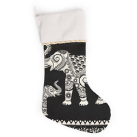 "Famenxt ""Ornamental Indian Elephant"" Black White Digital Christmas Stocking"